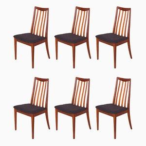 Chaises de Salle à Manger en Tissu et Teck par Leslie Dandy pour G-Plan, 1960s, Set de 6