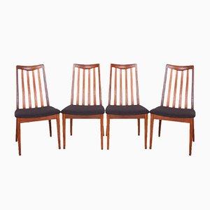 Chaises de Salle à Manger Vintage en Teck et Tissu par Leslie Dandy pour G-Plan, 1960s, Set de 4