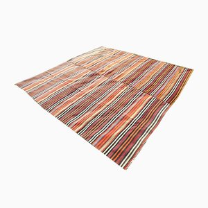 Large Vintage Turkish Striped Wool Square Kilim Rug, 1970s