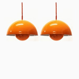 Flowerpot Pendant Lights by Verner Panton for Louis Poulsen, 1960s, Set of 2