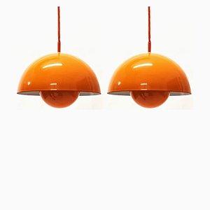 Lámparas colgantes Flowerpot de Verner Panton para Louis Poulsen, años 60. Juego de 2