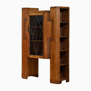 English Art Deco Golden Oak Bookcase, 1930s