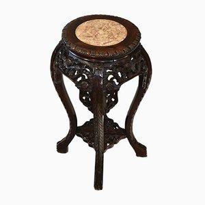 Antiker chinesischer Pflanzenständer oder Beistelltisch mit Marmorplatte