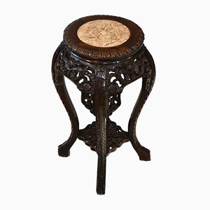 Antique Chinese Rosewood Plant Stand With a Marble Top