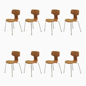 Sillas T o Hammer de Arne Jacobsen para Fritz Hansen, años 60. Juego de 8