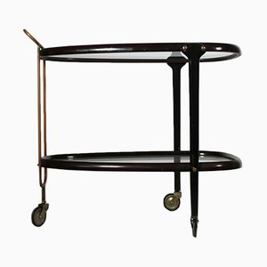 Glass and Brass Service Cart, 1950s