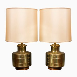 Italian Wood & Brass Table Lamps, 1970s, Set of 2