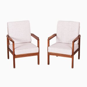Czech Oak Armchairs, 1930s, Set of 2