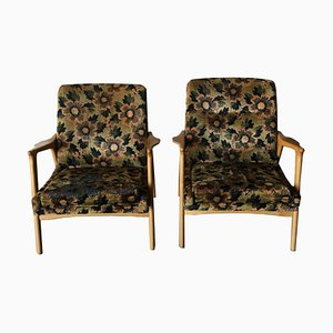 Nordic Oak Lounge Chairs, 1960s, Set of 2