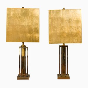 Italian Gold Leaf, Brass & Steel Table Lamps, 1970s, Set of 2