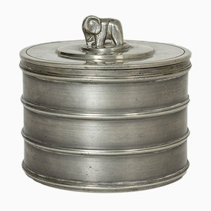 Pewter Lidded Jar with Elephant by Sylvia Stave for C. G. Hallberg, 1930s
