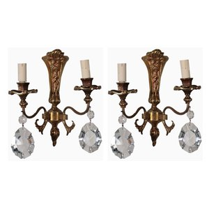 Antique Treated Bronze and Glass Sconces, Set of 2
