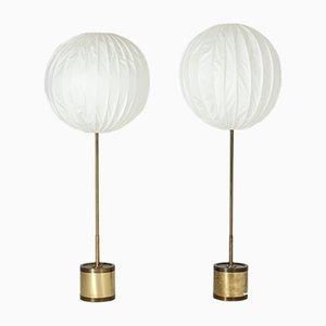 Lámparas de pie de latón de Hans-Agne Jakobsson para Markaryd, años 60. Juego de 2