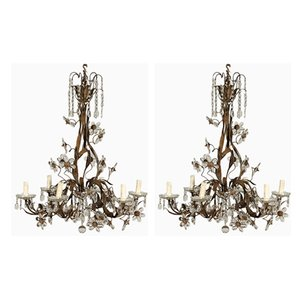 Antique Glass Pendant Lamps, Set of 2