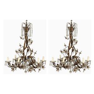 Lampes à Suspension Antique en Verre, Set de 2