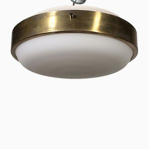 Vintage Glass and Metal Ceiling Lamp from Lumi, 1960s