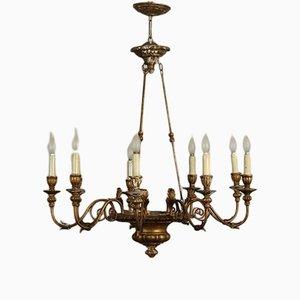 Antike Deckenlampe aus geschnitztem Holz