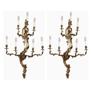 Applique antiche in bronzo dorato, set di 2