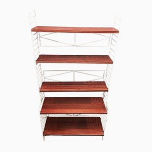 Scandinavian Teak Modular Shelving Unit from String, 1950s