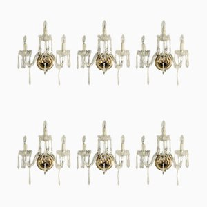 Antique Brass and Crystal Glass Sconces, Set of 6