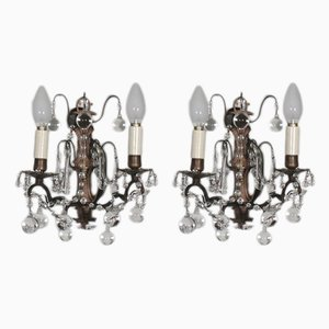Antique Glass Sconces, Set of 2