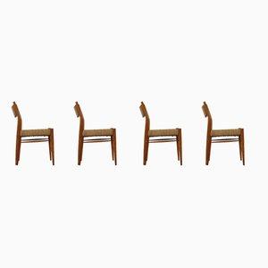 Sillas de comedor de roble y cuerda, años 60. Juego de 4