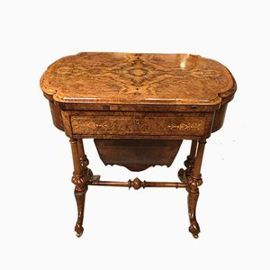 Antique Victorian Burr Walnut Game Table