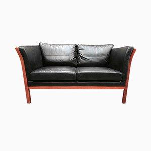 Schwarzes Vintage 2-Sitzer Ledersofa im skandinavischen Stil