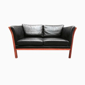 Vintage Scandinavian Black Leather 2-Seater Sofa