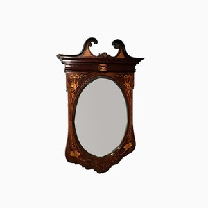 Antique Edwardian Marquetry Inlaid Wall Mirror