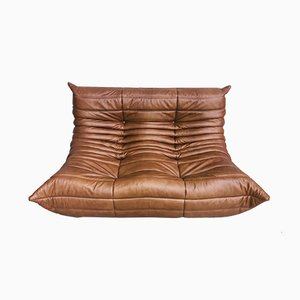 Vintage Dark Cognac Leather Togo Loveseat by Michel Ducaroy for Ligne Roset, 1970s