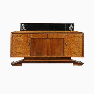 Vintage Burl Rosewood Veneer Buffet with Mirror