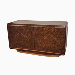 Italian Burl Walnut & Brass Chest of Drawers, 1970s