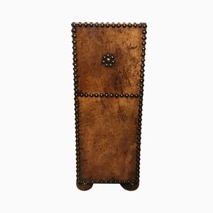 Vintage Leather & Brass Studded Umbrella or Stick Stand