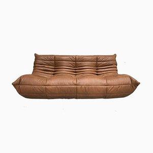 Großes Mid Century Togo Sofa aus dunklem cognacfarbenem Leder von Michel Ducaroy für Ligne Roset, 1970er