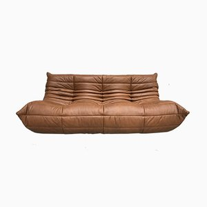 Mid Century Dark Cognac Leather Large Togo Sofa by Michel Ducaroy for Ligne Roset, 1970s