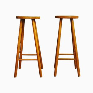 Wooden Bar Stools, 1960s, Set of 2