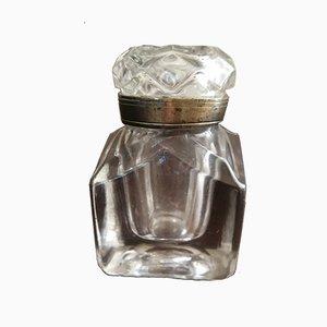 Calamaio vittoriano grande in vetro inciso, inizio XIX secolo