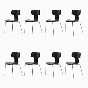 Sedie T di Arne Jacobsen per Fritz Hansen, anni '60, set di 8