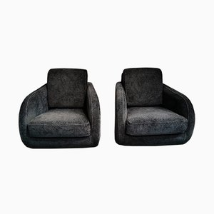 Midnight Blue Club Chairs from Roche Bobois, 2000s, Set of 2