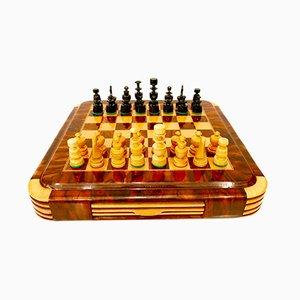 Art Deco Style Walnut & Oak Chess Set, 1940s