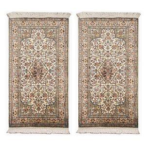 Handgeknüpfte indische Teppiche aus Seide, 1970er, 2er Set