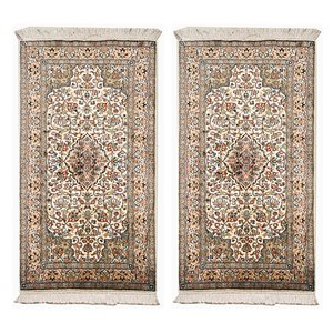 Indian Hand-Knotted Silk Carpets, 1970s, Set of 2
