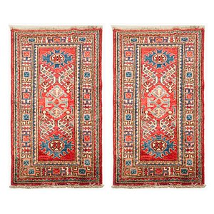 Kazak Hand-Knotted Wool Carpets, 1970s, Set of 2