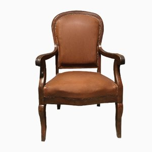 Vintage Brown Skai Armchair, 1950s