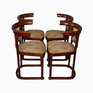 Chaises de Salle à Manger Art Nouveau Antiques par Josef Hoffmann pour Thonet, 1910s, Set de 4