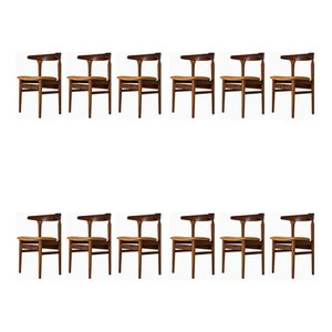 Cowhorn Esszimmerstühle aus Teak von Torbjørn Afdal, 1960er, 12er Set