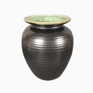 Jarrón de cerámica estriada de Martha Katzer para Karlsruher Majolika, años 40