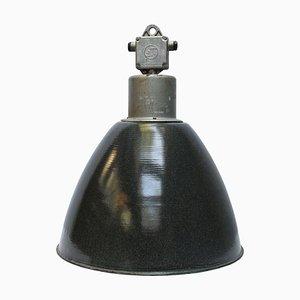 Lampe à Suspension en Émail Gris Foncé, 1950s