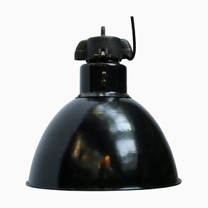 Industrial Black Enamel Pendant Lamp, 1930s